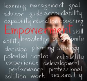26051166 - business man writing empowerment concept