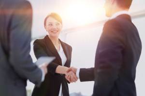 66985064 - two professional business people shaking hands